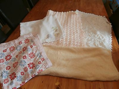 BUNDLE of 5 x baby girl pram/moses/cot blankets, VGC