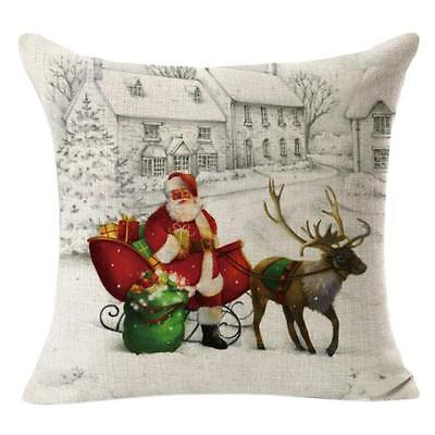 Christmas Linen Square Throw Flax Pillow Case Decorative Cushion Pillow Cover