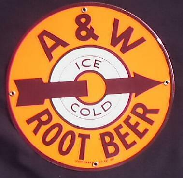 A & W   Porcelain Overlay Round Metal Sign Nr