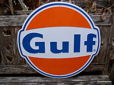 Large Gulf Oil Gas Sign Gasoline Old Vintage 1960's Gulf Antique Gas Pump Sign #