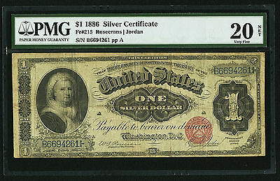 $1 1886 Silver Certificate Fr. 215 Martha Washington PCGS Apparent Very Fine 20