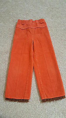 Patty Girls Orange Corduroy Pants with Brown Fringes, Size 6X