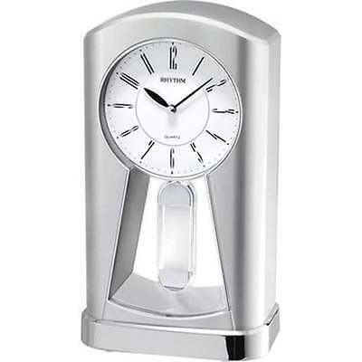 Widdop & Co Silver Tone Contemporary Motion Mantel Clock With Classic Pendulum
