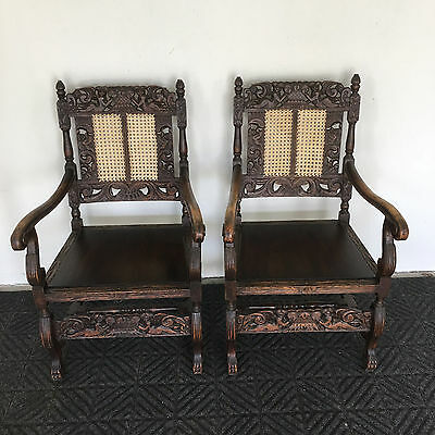 Pair of Italian 1890 Antique Oak Chairs, Carved Angels or Cherubs