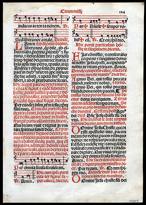 The Canon of THe Mass 1566  Missal Romanum Leaf Antiphonal Gregorian Chant