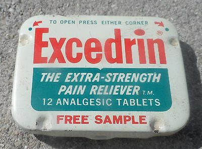 HTF Excedrin Free Sample Aspirin Advertising Tin Empty Pre Zip Codes
