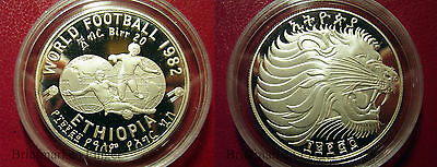 1982 Ethiopia Large Silver Proof 20 Birr-World Cup Soccer/ Lion of Juda