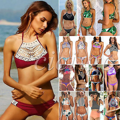 Damen Neckholder Crop Bikini Set Push Up Gepolsterte Bademode Badeanzug Swimwear