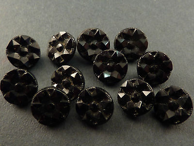 11 Very Small Victorian Faceted Black Glass Buttons