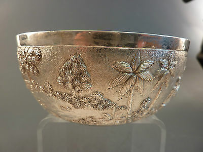 SUPERB INDIAN CALCUTTA FINELY CHASED SILVER BOWL BY GRISH CHUNDERDUTT no.4