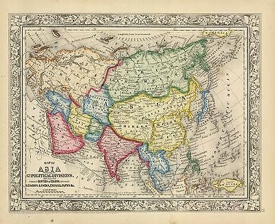 "1863  ""Map of Asia showing its Gt. Political Divisions..."""