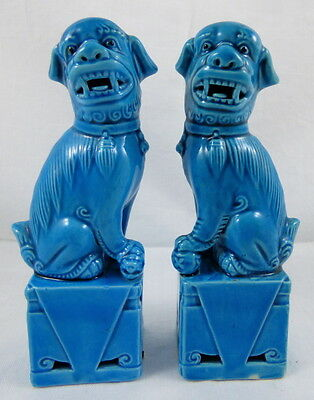 Pair Vintage Chinese Turquoise Blue Porcelain Foo Fu Dogs Lions Statues 4 3/4""