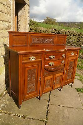 Edwardian Walnut  Bow-Front Sideboard with Carved Panels