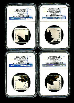 2016 Canada Silver  Ngc Pf70 Maple Leaf Quartet Reverse Proof 4-Coin Set Fr Rare