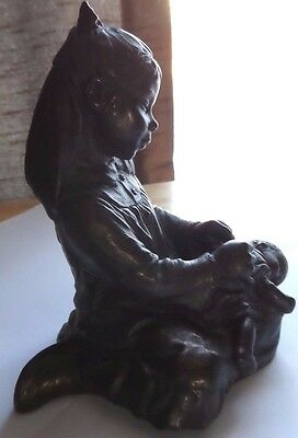 Young Girl With Baby/doll Statuette Figurine, Cold Cast Bronze