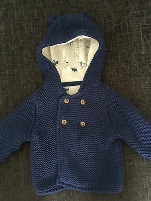 M&S Baby Boys Knitted Hooded Top. Size 0-3 Months
