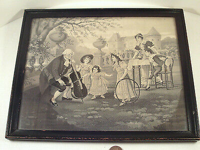 "Original-vintage ANTIQUE (Framed) ""EMBROIDERY ~ NEEDLEWORK"" (Woven-Threads) Art!"