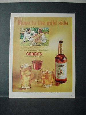 1964 Man Woman play Tennis Corby's Whiskey Vintage Print Ad 11447