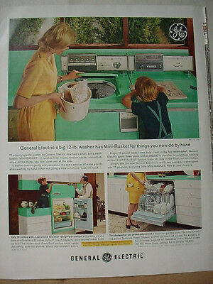 1963 General Electric Washer Dryer Dishwasher Appliance Vintage Print Ad 10491