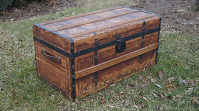 "LARGE ANTIQUE 1859 WOOD TRUNK - 14.5"" TALL x 28.0"" WIDE x 15.0"" DEEP"