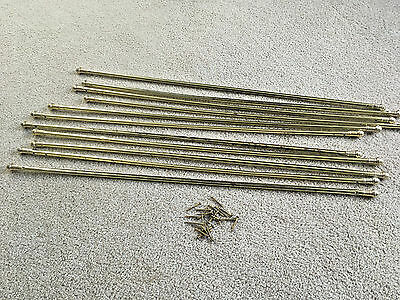 "11 SET 31.5"" to 33"" Brass Stair Carpet runner Rods finials USED gold brass metal"