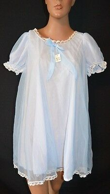 Vintage 60s Double Nylon Chiffon Babydoll Nightgown NWT 36/38 S/M