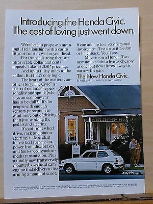 Vintage 1973 magazine ad for Honda - Civic, Car fit your heart and your head