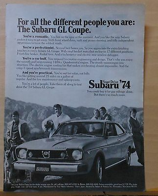 1974 magazine ad for Subaru - GL Coupe, For All The Different Poeple You Are