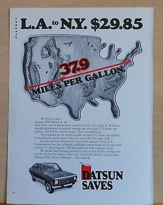 1973 magazine ad for Datsun - Datsun 1200 drives from LA to NYC, 37.9 mpg