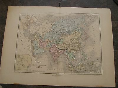 1870 ORIGINAL Large Map of Asia, China, Russia, India