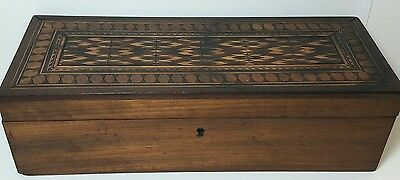 Beautiful Antique Marquetry Wood Wooden Hinged Lid Treasure Trinket Box
