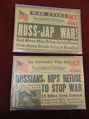 2 Aug 1945 Los Angeles Newspapers WW II War Extra 2nd ATOM BOMB Russia/Japan War