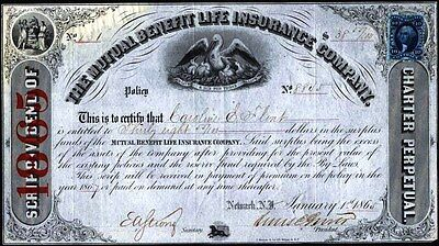 Mutual Benefit Life Insurance Co Policy, Newark, N.y., 1865, Us Rev. Stamp Affix