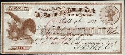 Carson City Savings Bank, Nev., 1878 Certificate Of Deposit Eagle + $20 Gold