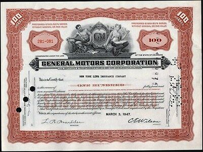 General Motors Corporaiton, 1947 Issued To New York Life Insurance Co