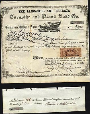 Lancaster And Ephrata Turnpike And Plank Road Co, 1863 With Internal Rev Stamp