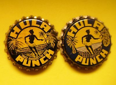 2 different HULA PUNCH unused  cork lined bottle caps