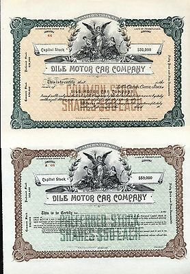 2 Rare Automobile Stocks Of The Dile Motor Car Company, 1914-16 Reading, Pa