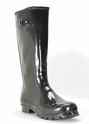14th & Union NEW Black Shoes 11M Knee-High Round Toe Rubber Boots $49- #584