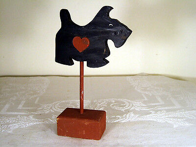 """Vintage Scottie Dog -Wood Scottish Terrier On Stand With Red Heart - 9"""""""