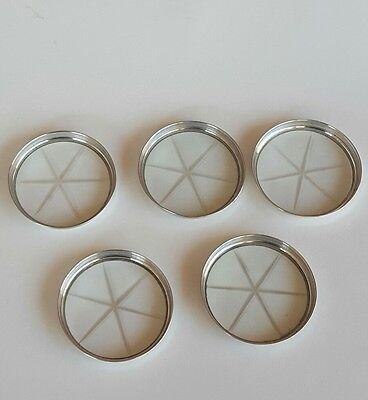 Antique Set of 5 Vintage G.H. French Sterling Silver and Crystal Coasters