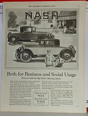 1927 magazine ad for Nash - Special & Light Six Coupes for Business & Social use