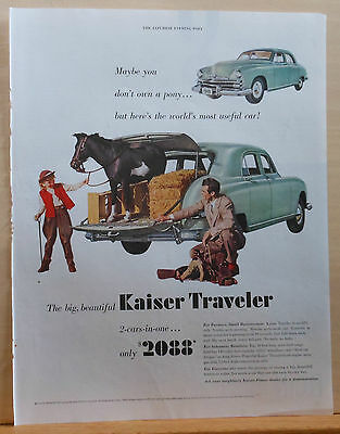 1949 magazine ad for Kaiser Frazer autos - Traveler, even a pony fits in back