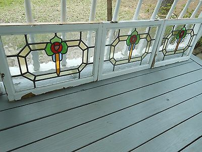 LAM-175 Very Pretty Older Leaded Stained Glass Window From England 3 Available