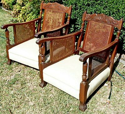 2 x Genuine Antique British Colonial Style Club Lounge Chairs...