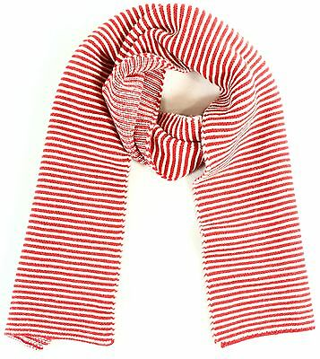 Jo Gordon NEW Red White One Size Knitted Striped Scarf Lamb Wool $195 #003