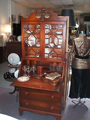 Slant Front Secretary Desk Bookcase Top Serpentine  Vintage Antique