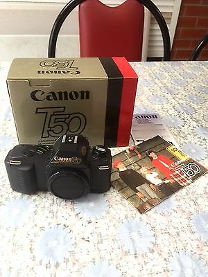 Vintage Canon T50 35mm SLR Body Only ~ Boxed + Manual