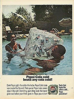 Pepsi-Cola cold beats any cola cold! Ad 1967 Negro models in pool