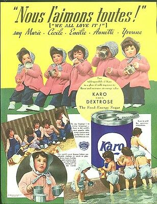 Nous l'amions toutes! Dionne Quintuplets for Karo Syrup ad 1937
